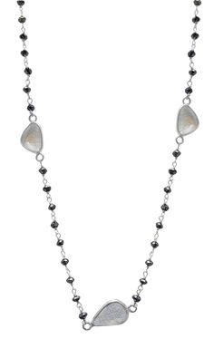 Black Diamond 14K White Gold Rosary Beads with White Sapphire Slices by TIAARA (Also available in Yellow Gold)