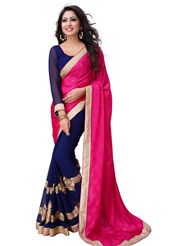 Fuchsia Faux Georgette Jacquard and Faux Chiffon Saree with Blouse