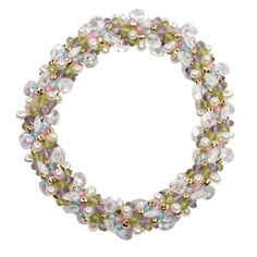 """MIXED STONE AND GOLD 7"""" BRACELET COMPRISING: AMETHYST, PERIDOT, FRESHWATER PEARL, ZIRCON, AND 14K YELLOW GOLD IN A 7-STONE DEEP WEAVE. BY MEREDITH FREDERICK DESIGN."""