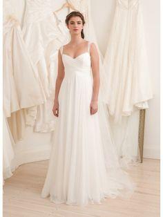 Silk Chiffon Open Neckline A-line Wedding Dress