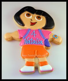 Here is an adorable Dora the Explorer Cookie made using our Dora the Explorer cookie cutter submitted by our wonderful customer Susan at The Painted Cookie.