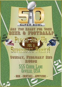 Super Bowl 50 Printable Football Party Invite