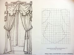 """Formal swag treatment ideal for silks and medium weight fabrics.  This style is best on windows 42-55"""" wide. custom draperies designnashville"""