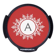 Ornate White Snowflake Monogram on Festive Red LED Car Decal   Visit the Zazzle Site for More: http://www.zazzle.com/?rf=238228028496470081 [Referral Link]