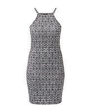Black Aztec Print High Neck Bodycon Dress  | New Look