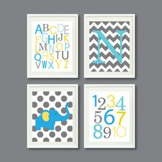 Modern Nursery Print Set of Four 8x10-Alphabet, Numbers, Initial, Elephant, Chevron, Polka Dots-Aqua Blue, Yellow, Grey OR Choose colors-4. $52.00, via Etsy.