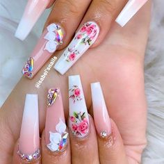 Elegant Flower Long Nails ❤ Trendy Options for Ombre Nails For Any Occasion ❤ See more ideas on our … Bling Acrylic Nails, Summer Acrylic Nails, Best Acrylic Nails, Bling Nails, Swag Nails, Coffin Nails, Pink Coffin, Summer Nails, Glitter Nails