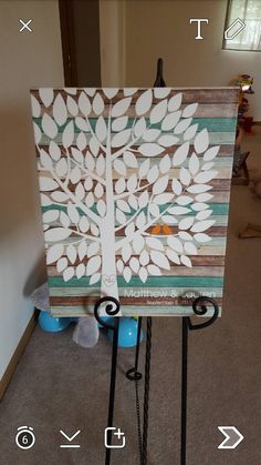 Tealwood Wedding Tree Canvas | Guest Book Alternative | Rustic Wedding | Customer Photo | Wedding Colors - Teal & Orange | peachwik.com