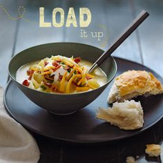 Slow-Cooker Loaded Baked Potato Soup — A velvety soup with all the yummy flavors of a  loaded baked potato
