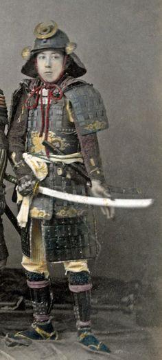 Samurai wearing armor, late 1800s.
