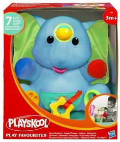 Hasbro Playskool Busy Elephant by Hasbro. $25.00. Textures and sounds to encourage hands-on exploration and discovery. This huggable character is sure to be a lovable, comforting friend for your child to play with. Babies will tickle their senses as they explore this squeezable elephant that features seven different engaging activities. Soft, plush elephant has seven different activities. Soft, crinkly ears, a squeaker and a clicking dial will delight babies? sense...