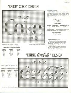 coke logo to cross stitch for  my daughter in law