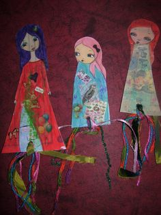 Paper Dolls Laminated Bookmarks with ribbons nr3 set of by eltsamp, $15.00