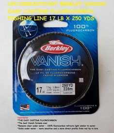 Description: *THE EASY CASTING FLUOROCARBON *The best Vanish formula ever *Remains clear under water - 100% fluorocarbon refracts light similar to water *Sinks under water - more sensitive and a more direct profile from rod tip to lure  UPC:028632701997 Fluorocarbon Fishing Line, Sinks, It Cast, Profile, Product Description, Water, Easy, User Profile, Gripe Water