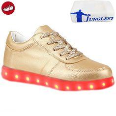[Present:kleines Handtuch]Gold EU 36, Schuhe Luminous (Größe Sportschuhe Silber) USB-Lade Flashing LED Turnschuhe 43, leuchten Herren Damen Lov