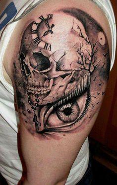 Surreal skull, clock and eye tattoo