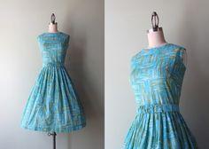 50s sundress / vintage 1950s sheer cotton day dress / 50s 60s spring summer sundress