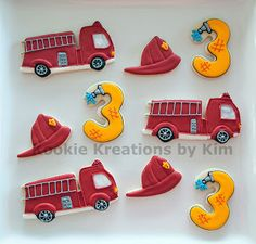 Fire truck cookies - Kookie Kreations by Kim