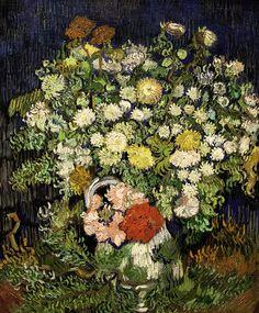 Bouquet of Flowers in a Vase Vincent van Gogh (Dutch, Zundert Auvers-sur-Oise) Date: 1890 Medium: Oil on canvas Dimensions: 25 x 21 in. x 54 cm) Vincent Van Gogh, Art Van, Fleurs Van Gogh, Van Gogh Flowers, Paint Flowers, Flowers Vase, Desenhos Van Gogh, Van Gogh Arte, Van Gogh Pinturas