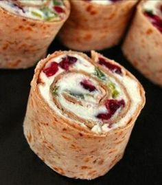 (Christmas) Pinwheel Hors d'oevres - Cranberry, Feta, Cream Cheese, Green Onion + pepper jelly!