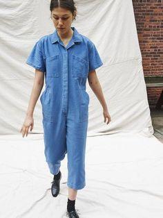 CARON CALLAHAN - Foster Jumpsuit in Faded Indigo Twill