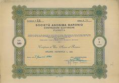 BARONIO SOC. AN. - COSTRUZ. ELETTRICHE - #scripomarket #scriposigns #scripofilia #scripophily #finanza #finance #collezionismo #collectibles #arte #art #scripoart #scripoarte #borsa #stock #azioni #bonds #obbligazioni