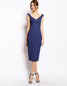 ASOS Texured Bardot Pencil Dress - what about this with a beaded brooch and amazing shoes!?