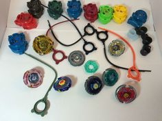Beyblade Lot of Used blades and launchers Beyblade TV show Let em Rip Played