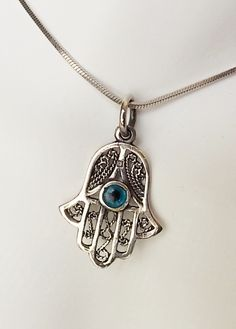 .925 Sterling Silver Evil Eye Pendant on Chain Hamsa Necklace Good Luck Jewelry