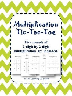 Students multiply 2-digit numbers by 2-digit numbers while playing tic-tac-toe. Five rounds are included so when one group finishes they can move right on to the next. Students love to play this!Customer Tips:How to get TPT credit to use on future purchases: Please go to your My Purchases page (you may need to login).