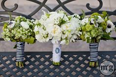 Courtesy of McGowan Images Austin and Dallas Wedding Planner Altar Ego Weddings green and white bouquets black and white stripe ribbon