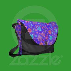 Flower Power Blue Pink Orange Messenger Bag | Zazzle.co.uk