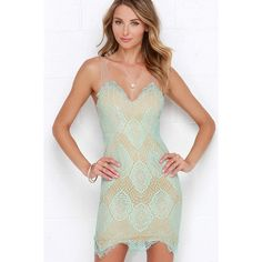 Luxe for Life Mint Lace Dress ($56) ❤ liked on Polyvore