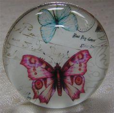Antique Vintage Style Butterfly Drawer Cupboard Knob Handle Pull Pink or Orange | eBay