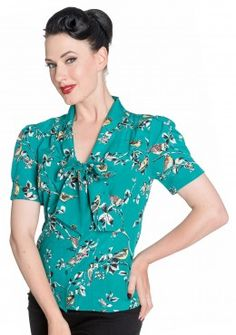Hell Bunny Birdy Teal Blouse Teal Blouse, Blouse Vintage, Vintage Outfits, Vintage Clothing, Floral Tops, Men Casual, Best Deals, My Style, Lady