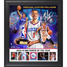 "Michael Carter-Williams Philadelphia 76ers Fanatics Authentic Framed 15"" x 17"" 2013-14 ROY Collage - $49.99"