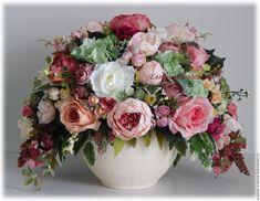 """Купить Большая цветочная композиция """"Дивный сад"""" - бежевый, пионы, розы, букет, большой размер, подарок"""