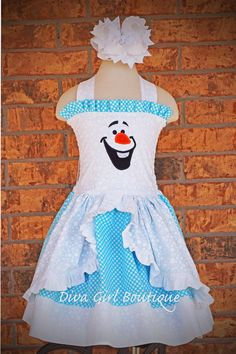 Girls Boutique Birthday Dress Frozen Olaf Dress Pageant Outfit of Choice Boutique Hair Bow 6m 12m 18m 24m 2T 3T 4T 5 6 7 8 on Etsy, $79.50