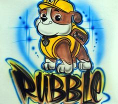 Personalized Custom Airbrushed Paw Patrol Inspired T-Shirt, Airbrushed Rubble T-shirt, The Perfect Shirt for You or Your Child