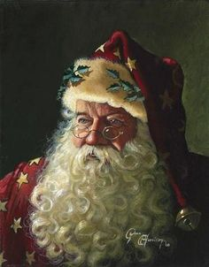 Such a traditional painting of Santa. I want to hang it by my tree! *Hope*