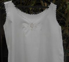 Victorian White Embroidered Dress French 1900's Cotton Slip Scalloped Floral Embroidered Handmade Lingerie Medium Large #sophieladydeparis