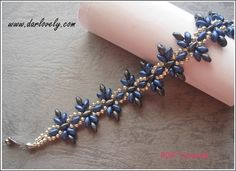 Classic Blue Grey Flower Superduo Bracelet