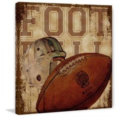 Marmont Hill Football by Saturday Evening Post Painting Print on Canvas, Size: 48 inch x 48 inch, Multicolor