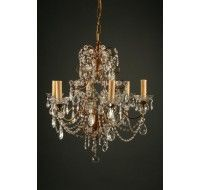 Early 19th Century Antique Italian Six Arm Iron And Crystal Chandelier Circa 1820
