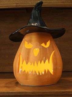 Ceramic Jack-o'-lantern with Witch Hat in Orange, Yellow and Black by…