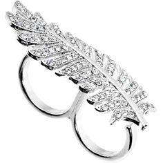 $10.99 Silver Tone Crystalline Feather Double Finger #Ring