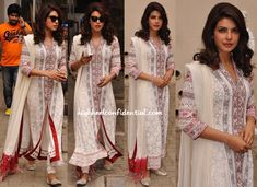 While at an event for UNICEF, Priyanka was photographed in a Payal Jain suit. Wavy hair, a small bindi and silver jootis finished out her look. She looked lovely!