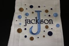 Personalized Embroidered Baby Burp Cloth Boy  by SilverCreekDT, $7.00
