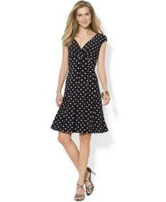 Lauren Ralph Lauren Polka-Dot A-Line Dress - Black/White 6