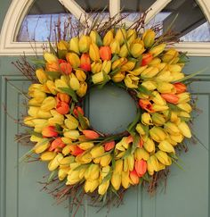 Spring WreathYellow and Orange Tulips by countryprim on Etsy